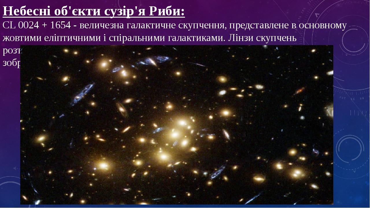 Небесні об'єкти сузір'я Риби: CL 0024 + 1654 - величезна галактичне скупчення, представлене в основному жовтими еліптичними і спіральними галактика...