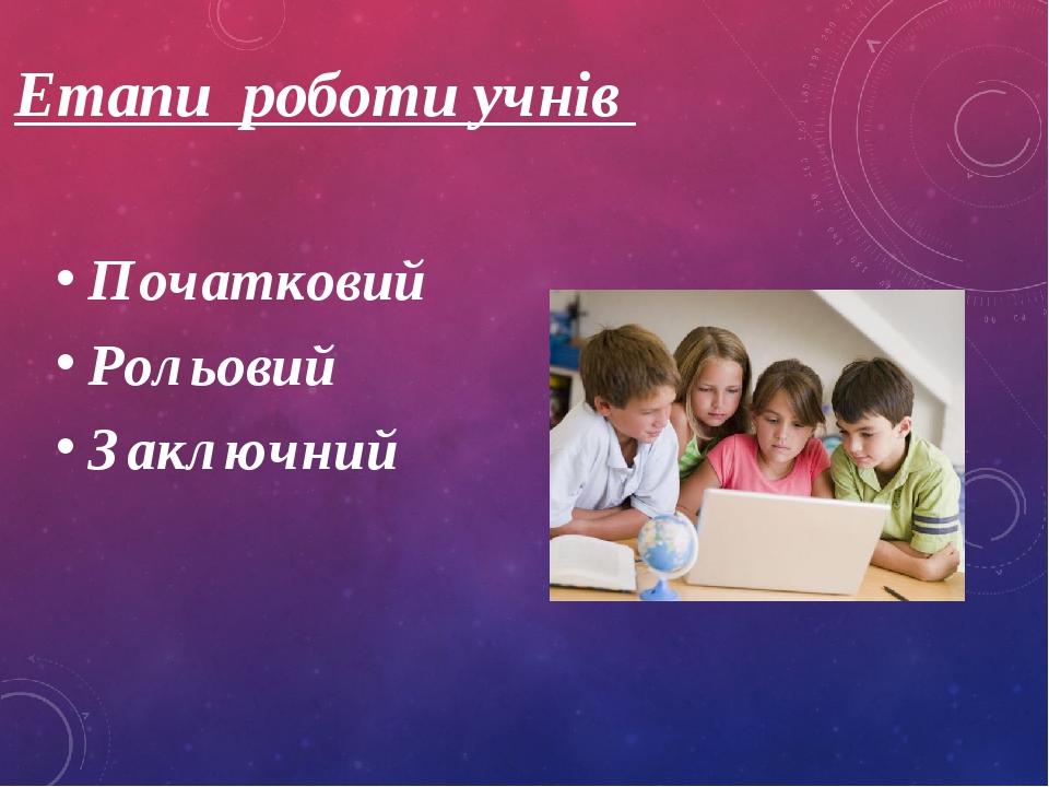 Етапи роботи учнів Початковий Рольовий Заключний