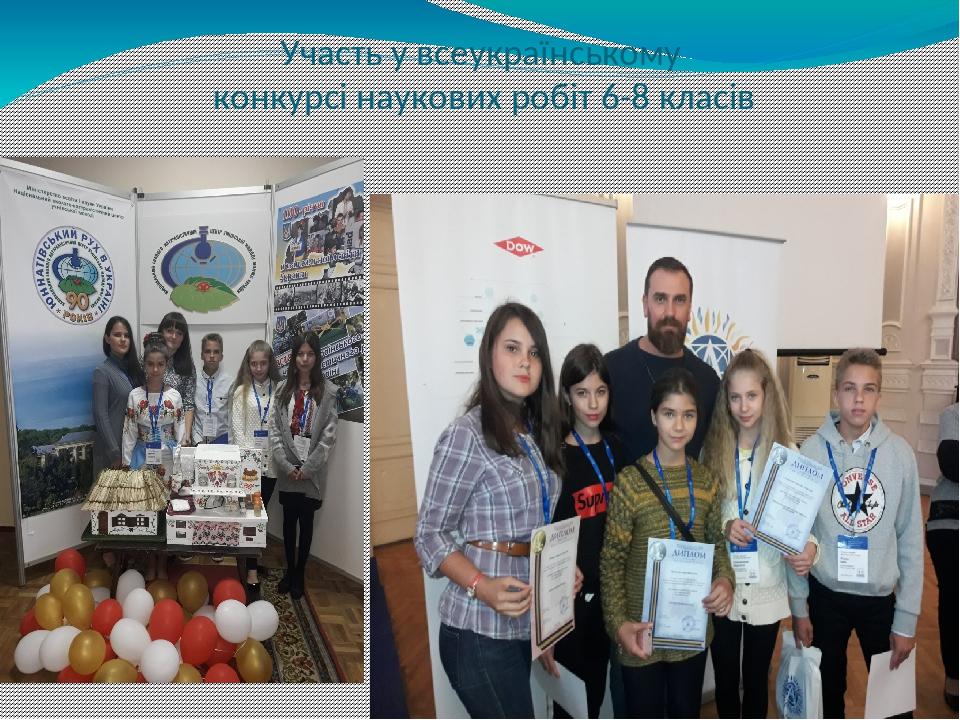 Участь у всеукраїнському конкурсі наукових робіт 6-8 класів