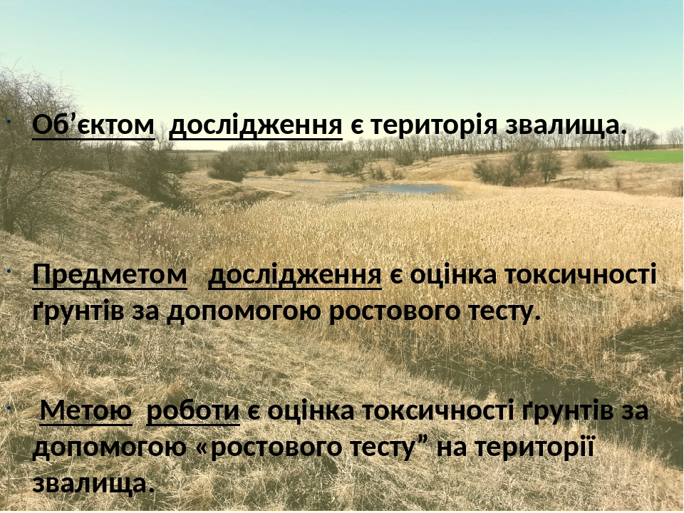 Об'єктом дослідження є територія звалища. Предметом дослідження є оцінка токсичності ґрунтів за допомогою ростового тесту. Метою роботи є оцінка то...