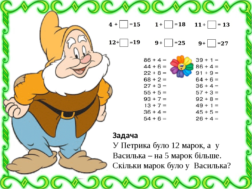 Задача У Петрика було 12 марок, а у Василька – на 5 марок більше. Скільки марок було у Василька?
