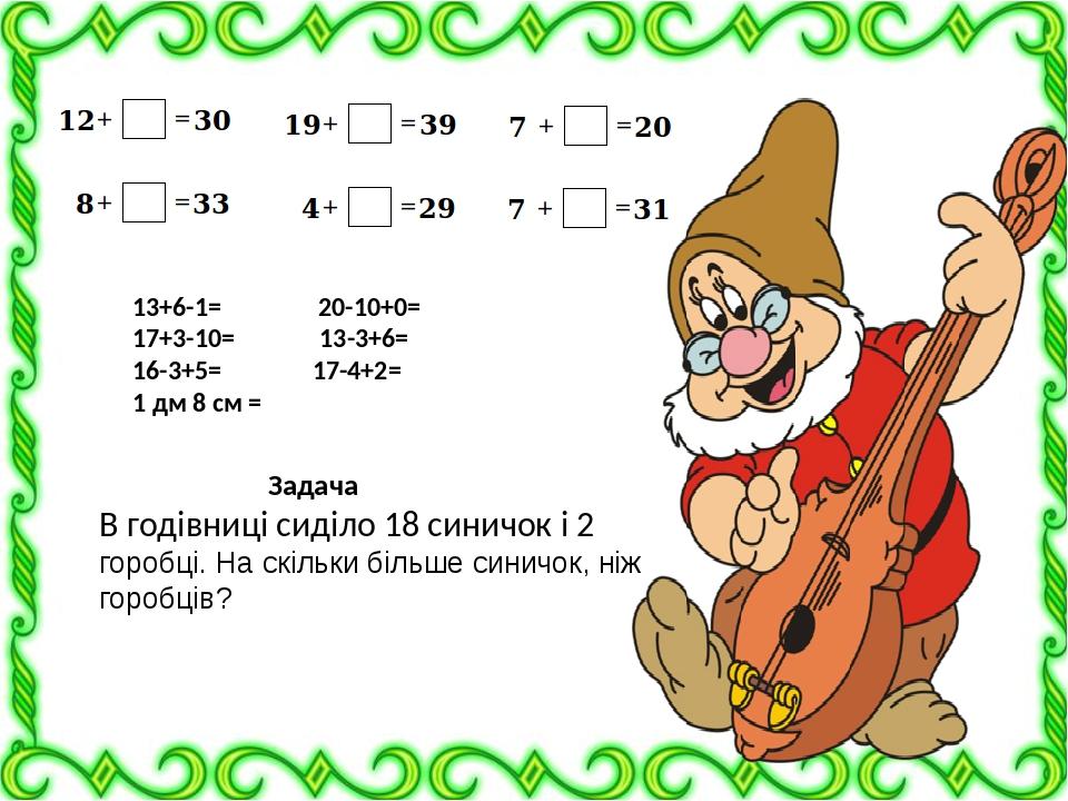 13+6-1= 20-10+0= 17+3-10= 13-3+6= 16-3+5= 17-4+2= 1 дм 8 см = Задача В годівниці сиділо 18 синичок і 2 горобці. На скільки більше синичок, ніж горо...