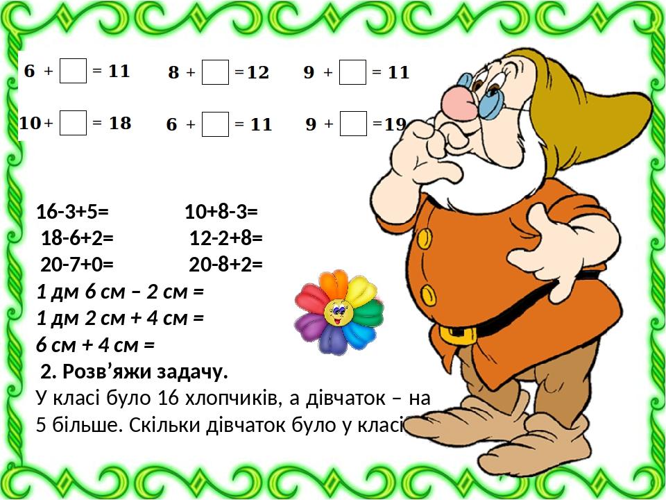 16-3+5= 10+8-3= 18-6+2= 12-2+8= 20-7+0= 20-8+2= 1 дм 6 см – 2 см = 1 дм 2 см + 4 см = 6 см + 4 см = 2. Розв'яжи задачу. У класі було 16 хлопчиків, ...