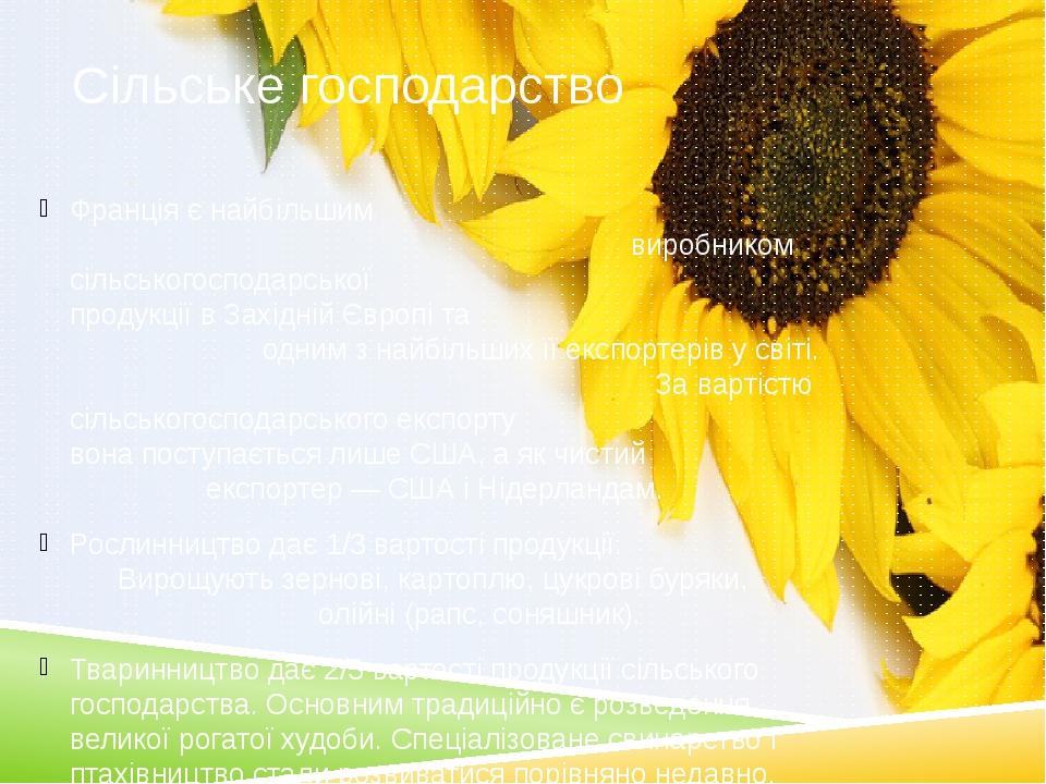 Сільське господарство Франція є найбільшим виробником сільськогосподарської продукції в Західній Європі та одним з найбільших її експортерів у світ...