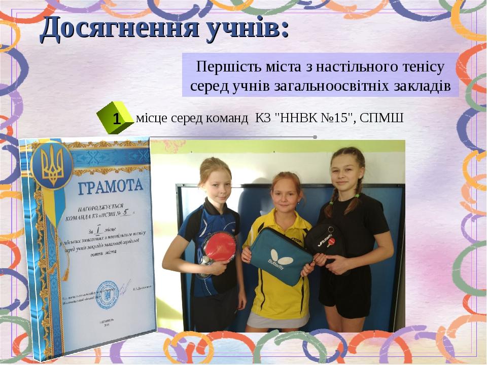 Першість міста з настільного тенісу серед учнів загальноосвітніх закладів Досягнення учнів: