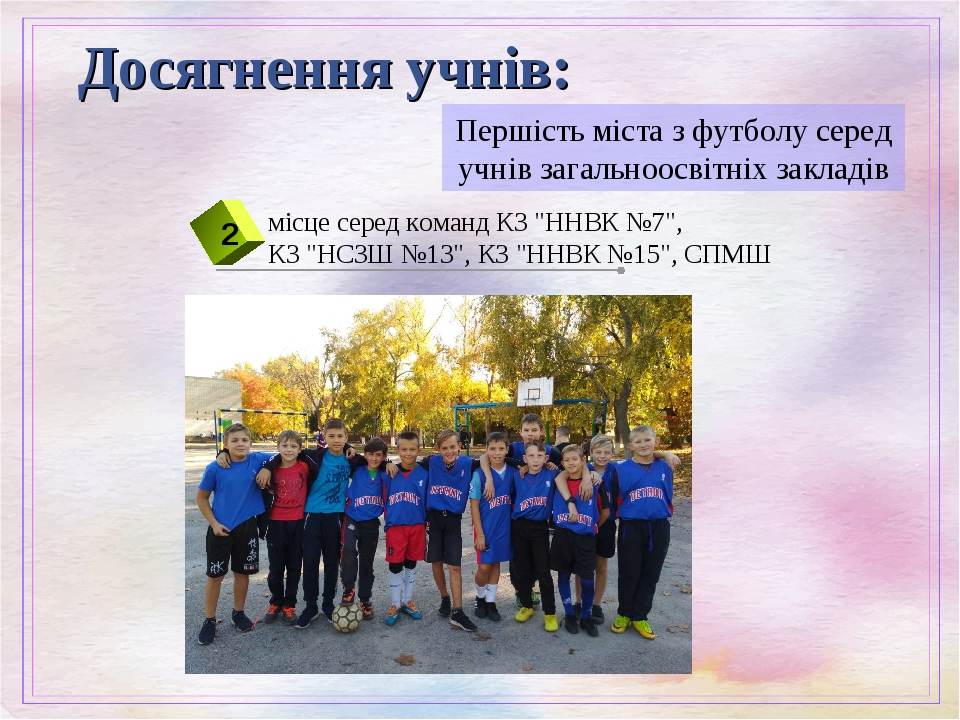 Першість міста з футболу серед учнів загальноосвітніх закладів Досягнення учнів:
