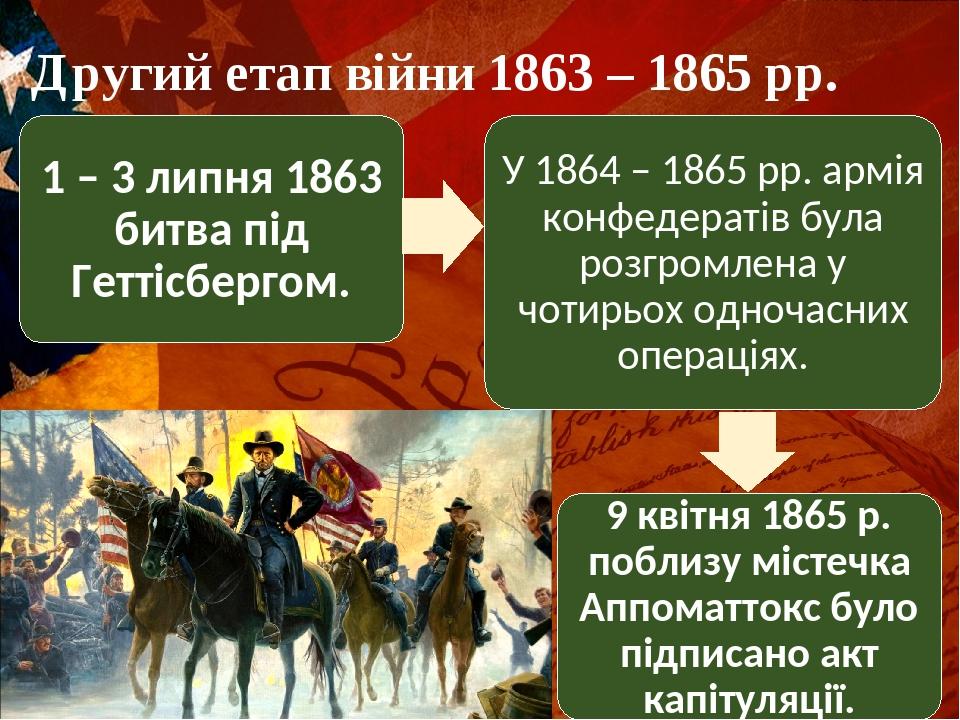 Другий етап війни 1863 – 1865 рр. 1 – 3 липня 1863 битва під Геттісбергом. У 1864 – 1865 рр. армія конфедератів була розгромлена у чотирьох одночас...