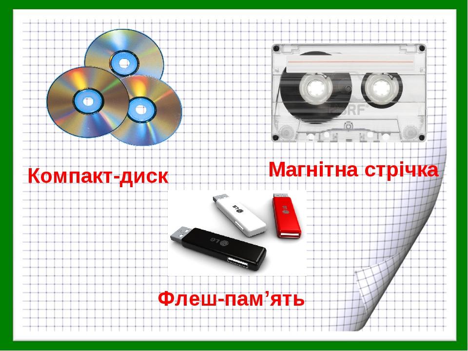 Компакт-диск Магнітна стрічка Флеш-пам'ять