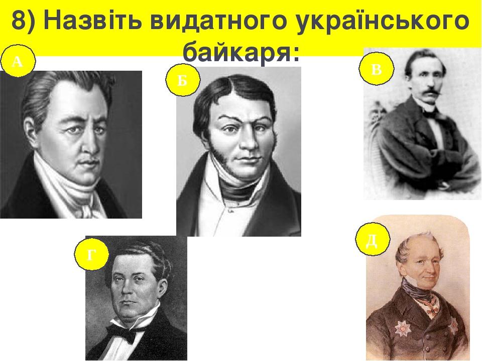 8) Назвіть видатного українського байкаря: А В Б Д Г
