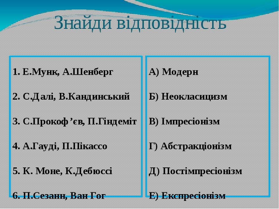 Знайди відповідність 1. Е.Мунк, А.Шенберг 2. С.Далі, В.Кандинський 3. С.Прокоф'єв, П.Гіндеміт 4. А.Гауді, П.Пікассо 5. К. Моне, К.Дебюссі 6. П.Сеза...