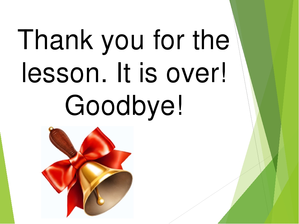 Thank you for the lesson. It is over! Goodbye!