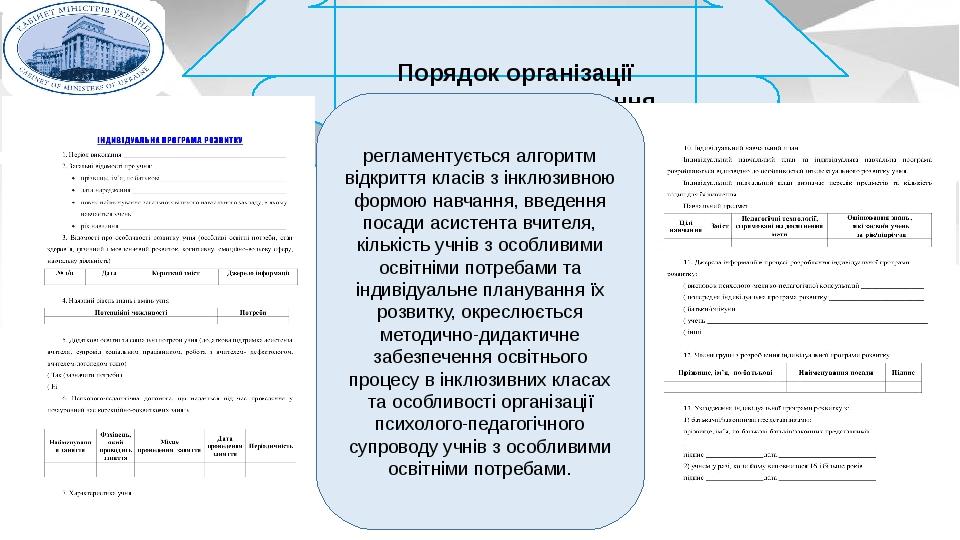 Порядок організації інклюзивного навчання регламентується алгоритм відкриття класів з інклюзивною формою навчання, введення посади асистента вчител...