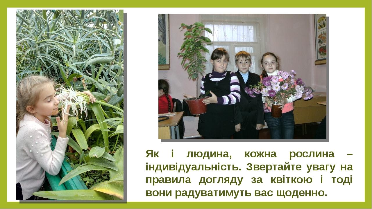 Як і людина, кожна рослина – індивідуальність. Звертайте увагу на правила догляду за квіткою і тоді вони радуватимуть вас щоденно.