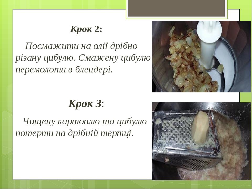 Крок 2: Посмажити на олії дрібно різану цибулю. Смажену цибулю перемолоти в блендері. Крок 3: Чищену картоплю та цибулю потерти на дрібній тертці.