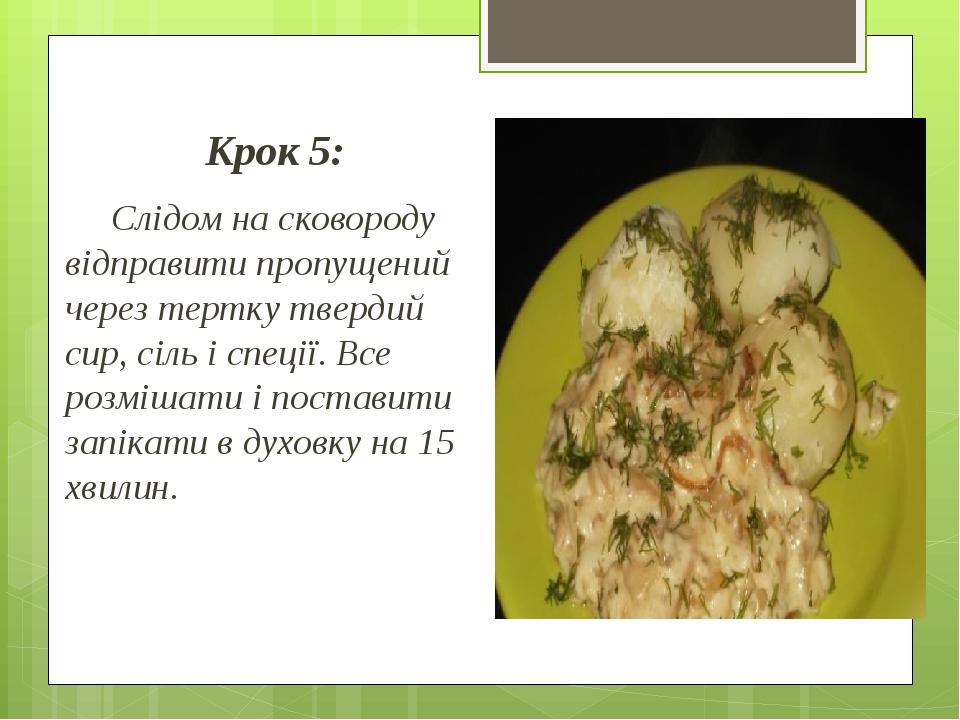 Крок 5: Слідом на сковороду відправити пропущений через тертку твердий сир, сіль і спеції. Все розмішати і поставити запікати в духовку на 15 хвилин.