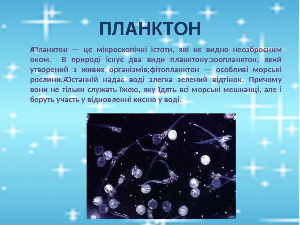 ПЛАНКТОН Планктон — це мікроскопічні істоти, які не видно неозброєним оком. В природі існує два види планктону:зоопланктон, який утворений з живих...