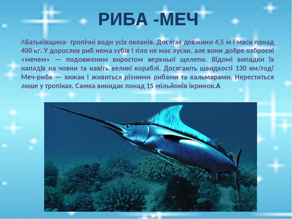 РИБА -МЕЧ  Батьківщина- тропічні води усіх океанів. Досягає довжини 4,5 м і маси понад 400 кг. У дорослих риб нема зубів і тіло не має луски, але ...