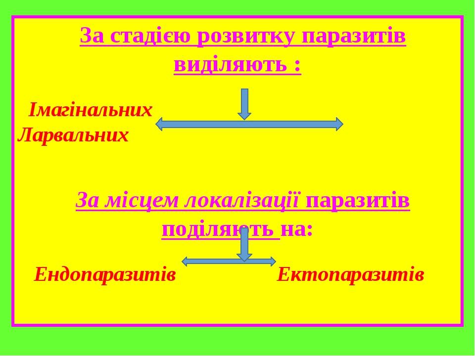 За стадією розвитку паразитів виділяють : Імагінальних Ларвальних За місцем локалізації паразитів поділяють на: Ендопаразитів Ектопаразитів