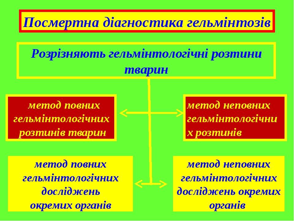 Розрізняють гельмінтологічні розтини тварин метод повних гельмінтологічних розтинів тварин метод повних гельмінтологічних досліджень окремих органі...