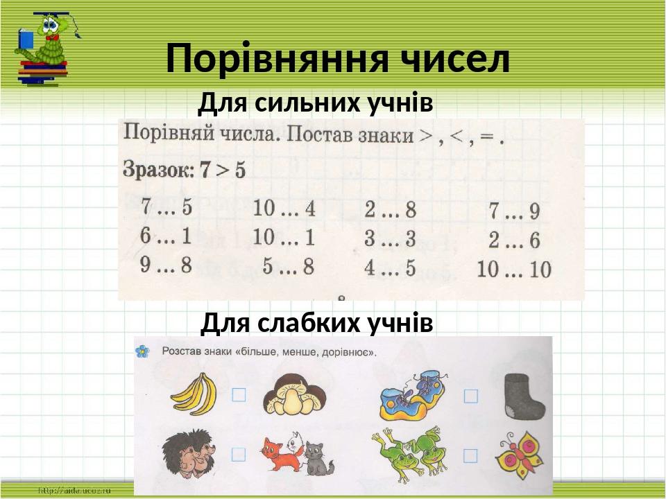 Порівняння чисел Для слабких учнів Для сильних учнів