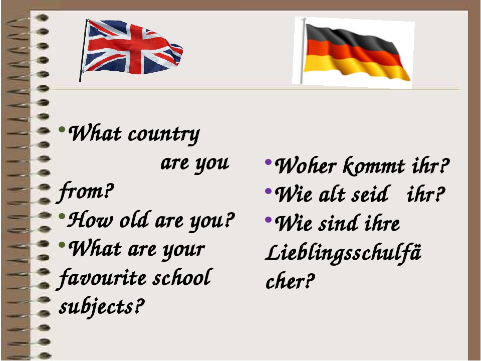 What country are you from? How old are you? What are your favourite school subjects? Woher kommt ihr? Wie alt seid ihr? Wie sind ihre Lieblingsschu...