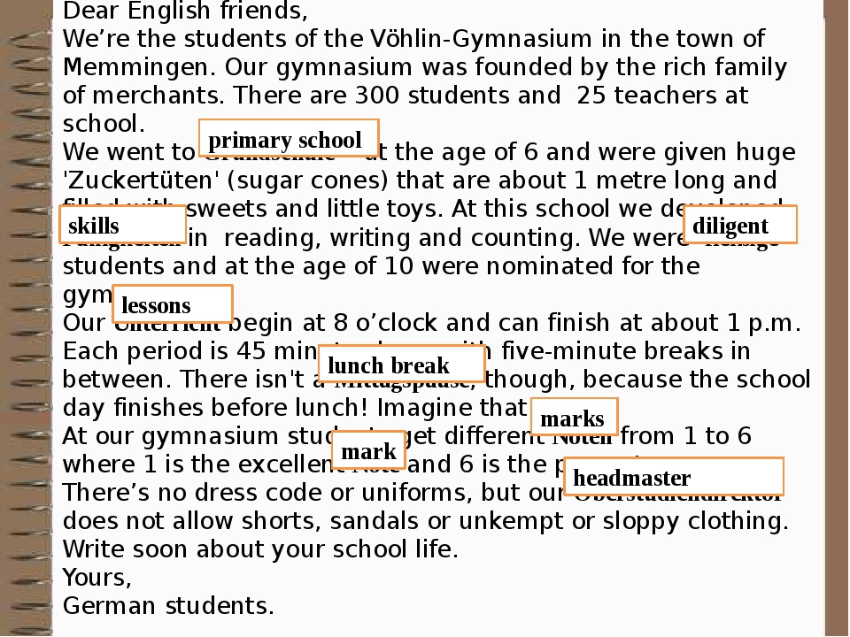 Dear English friends, We're the students of the Vöhlin-Gymnasium in the town of Memmingen. Our gymnasium was founded by the rich family of merchant...
