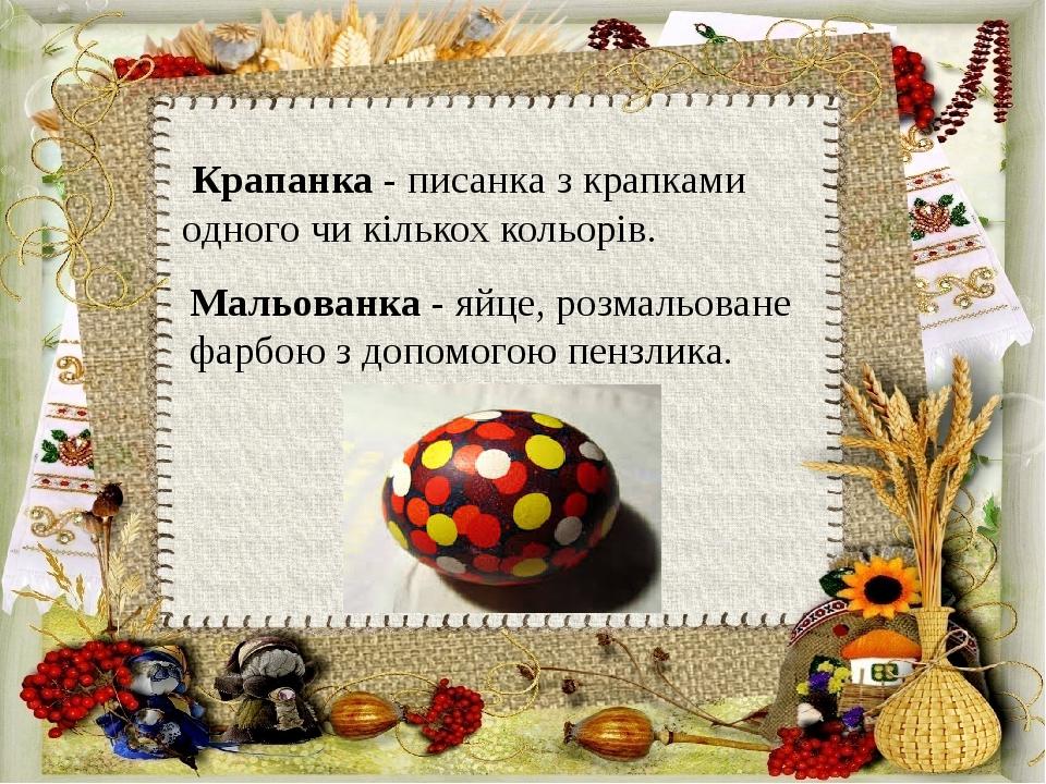 Крапанка - писанка з крапками одного чи кількох кольорів. Мальованка - яйце, розмальоване фарбою з допомогою пензлика.