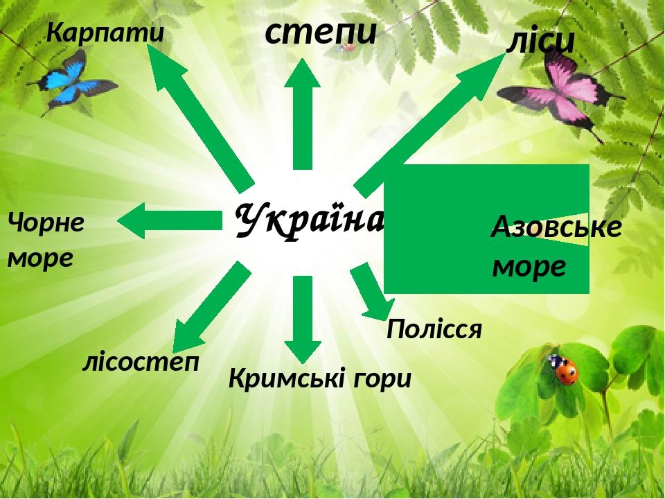 Україна Кримські гори ліси Азовське море Полісся степи Чорне море лісостеп Карпати