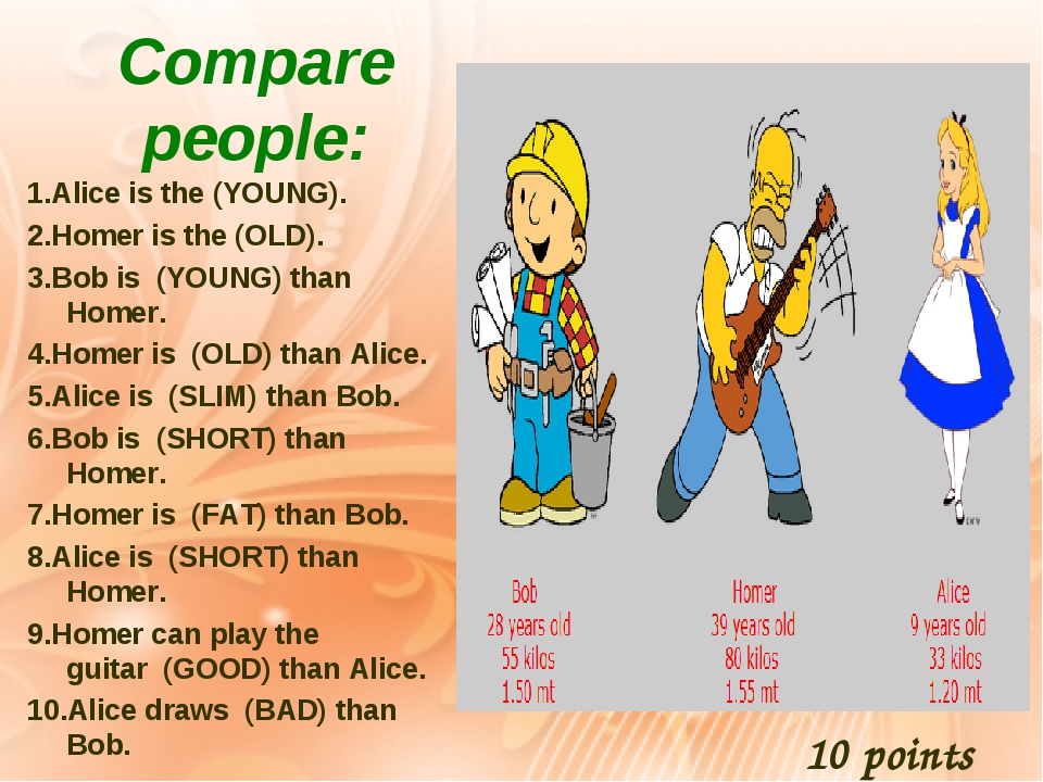 Compare people: 1.Alice is the (YOUNG). 2.Homer is the (OLD). 3.Bob is(YOUNG) than Homer. 4.Homer is(OLD) than Alice. 5.Alice is(SLIM) than B...