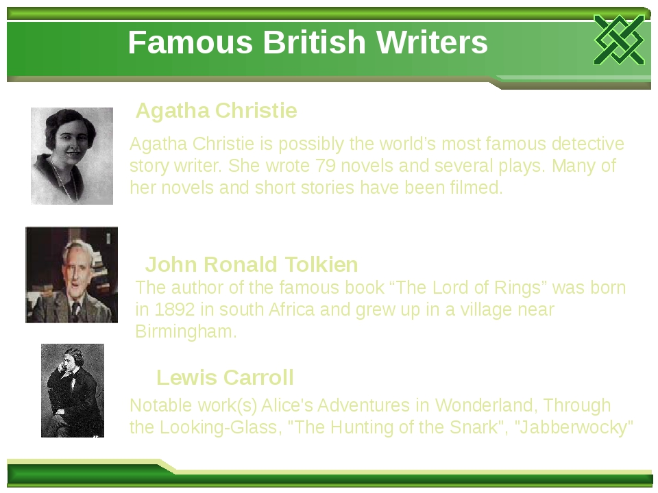 Famous British Writers Agatha Christie Agatha Christie is possibly the world's most famous detective story writer. She wrote 79 novels and several ...