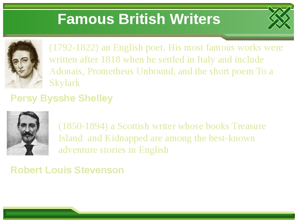 Famous British Writers Persy Bysshe Shelley (1792-1822) an English poet. His most famous works were written after 1818 when he settled in Italy and...