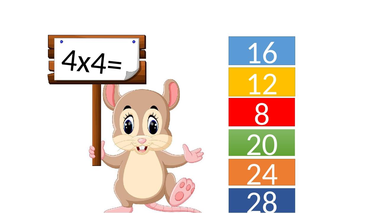 4х4= 16 12 8 20 24 28