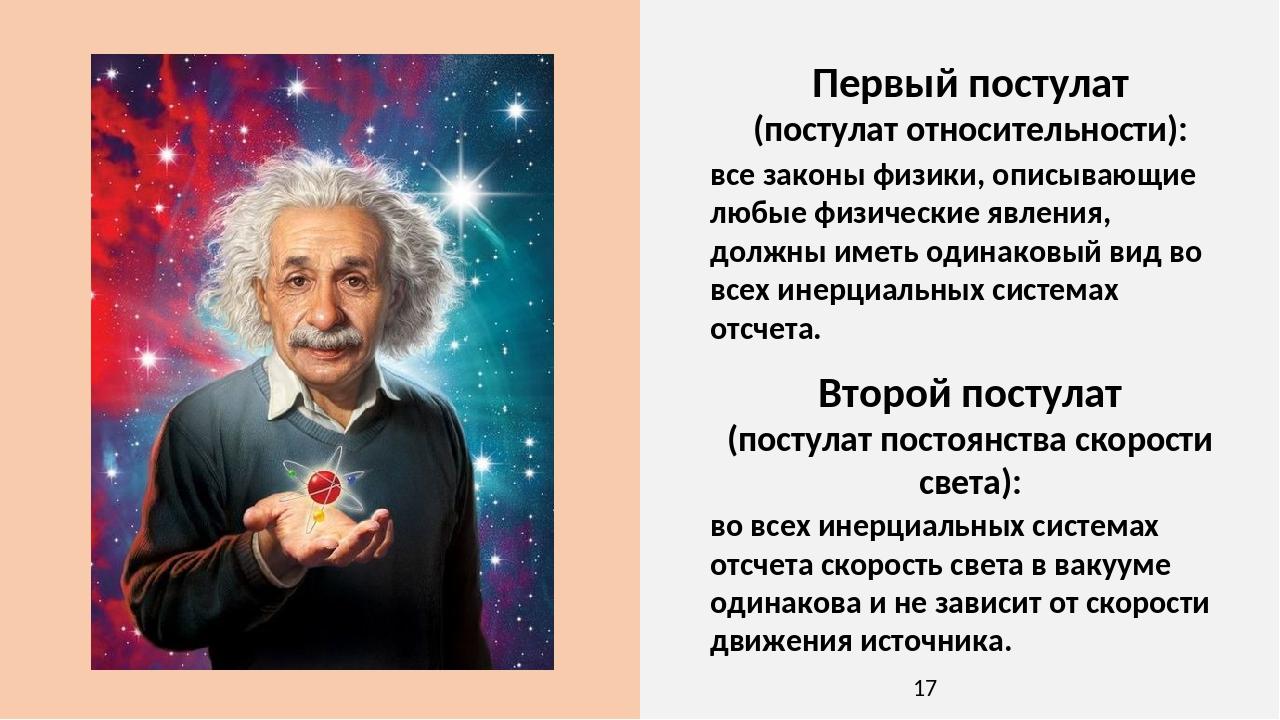 Второй постулат (постулат постоянства скорости света): во всех инерциальных системах отсчета скорость света в вакууме одинакова и не зависит от ско...
