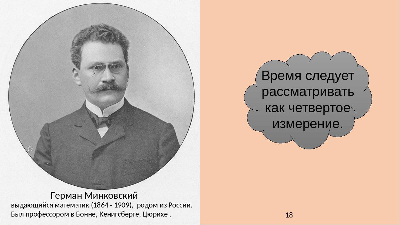 Герман Минковский выдающийся математик (1864 - 1909), родом из России. Был профессором в Бонне, Кенигсберге, Цюрихе . Время следует рассматривать к...