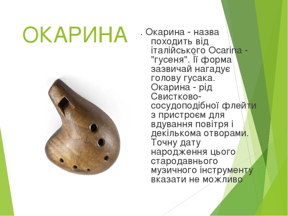 """ОКАРИНА . Окарина - назва походить від італійського Ocarina - """"гусеня"""". Її форма зазвичай нагадує голову гусака. Окарина - рід Свистково- сосудопод..."""