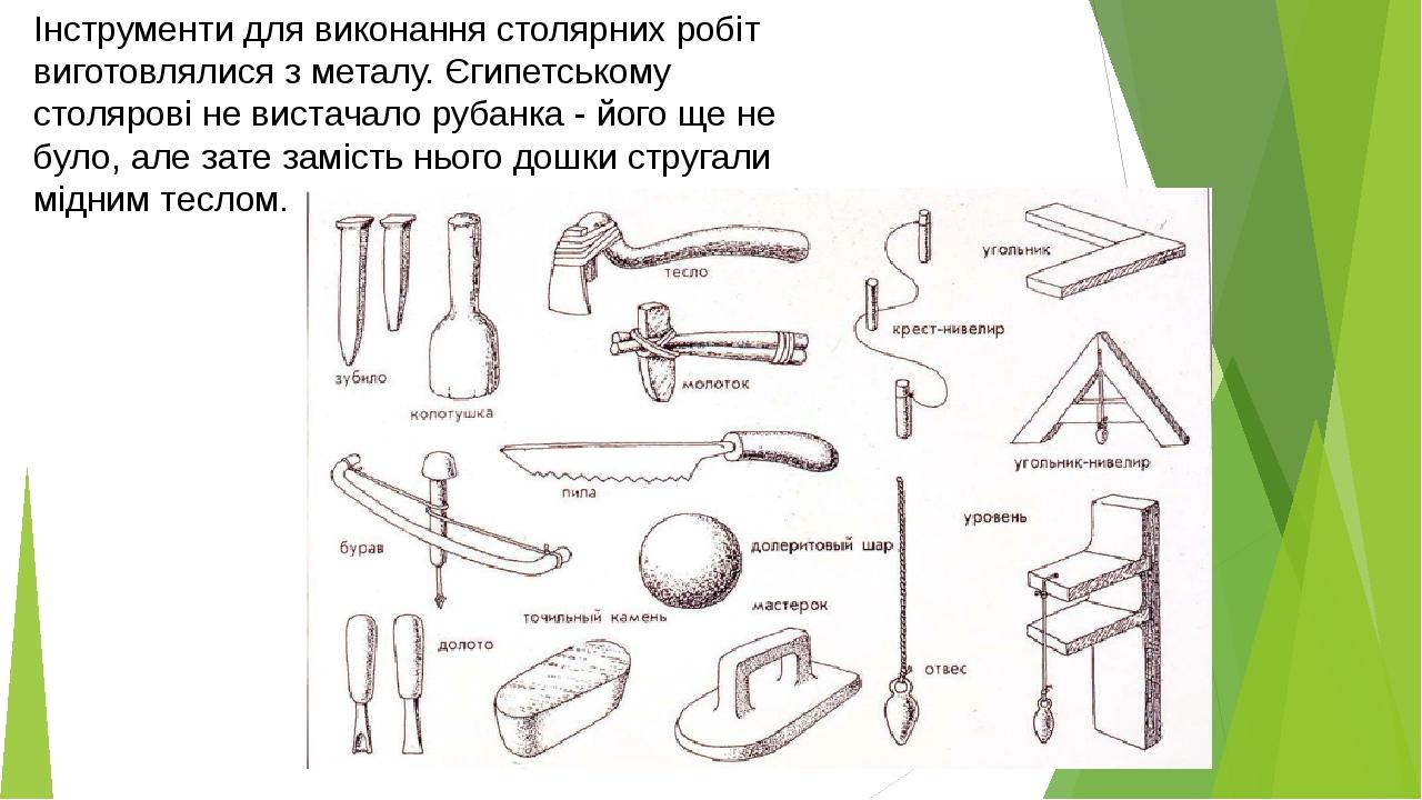 Інструменти для виконання столярних робіт виготовлялися з металу. Єгипетському столярові не вистачало рубанка - його ще не було, але зате замість н...