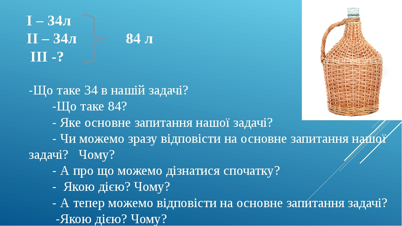 І – 34л ІІ – 34л 84 л ІІІ -? -Що таке 34 в нашій задачі? -Що таке 84? - Яке основне запитання нашої задачі? - Чи можемо зразу відповісти на основне...