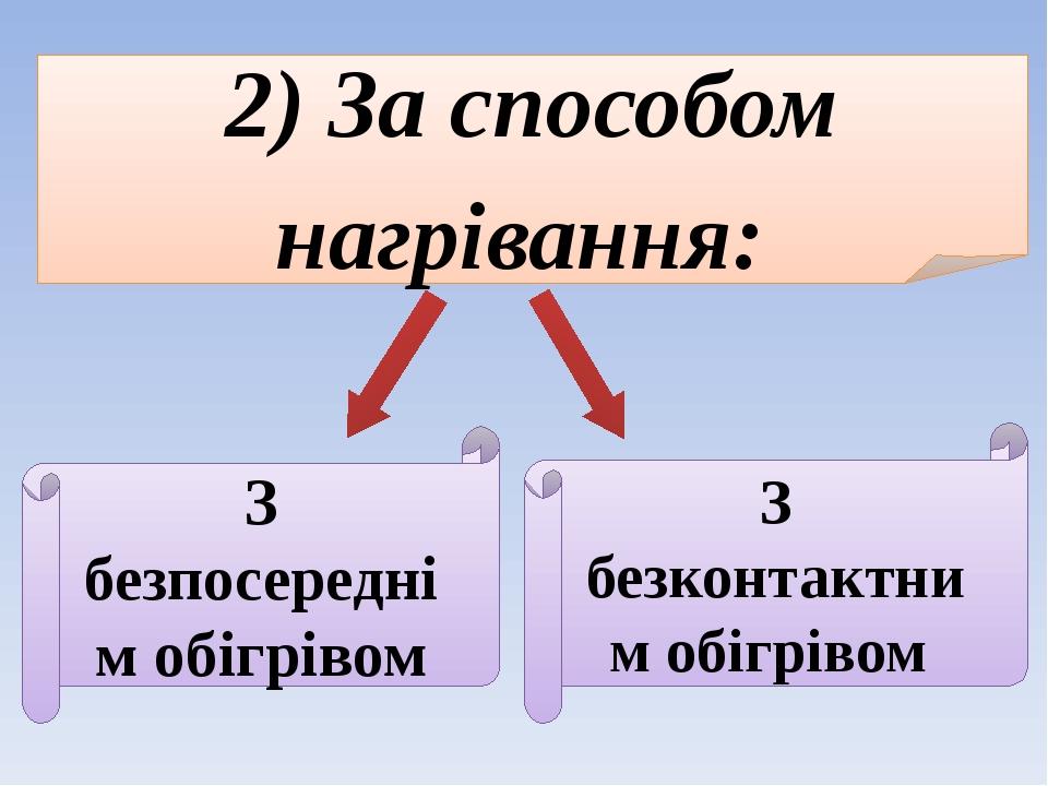2) За способом нагрівання: З безпосереднім обігрівом З безконтактним обігрівом