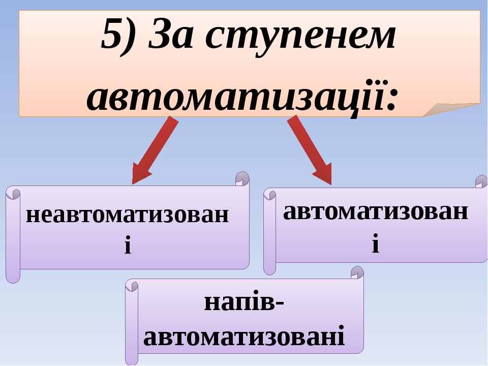5) За ступенем автоматизації: неавтоматизовані напів-автоматизовані автоматизовані