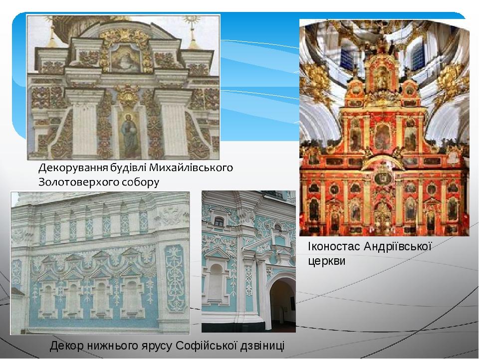 Декор нижнього ярусу Софійської дзвіниці Іконостас Андріївської церкви