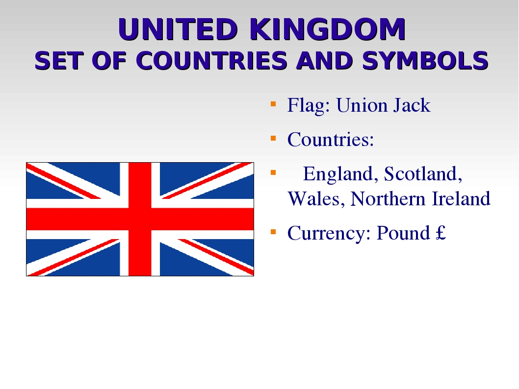 UNITED KINGDOM SET OF COUNTRIES AND SYMBOLS Flag: Union Jack Countries: England, Scotland, Wales, Northern Ireland Currency: Pound £