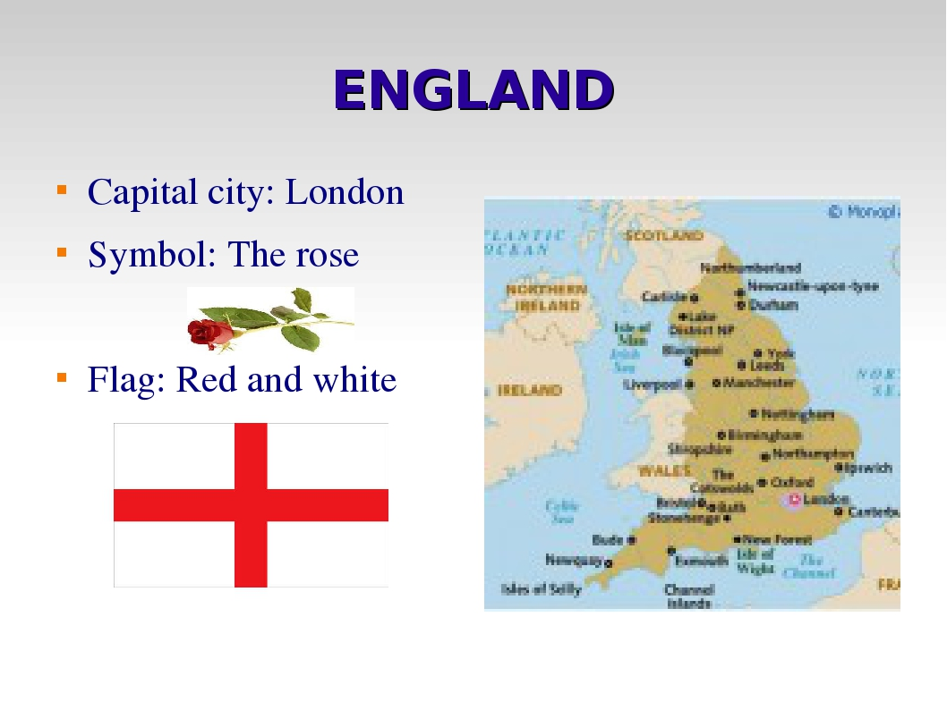 ENGLAND Capital city: London Symbol: The rose Flag: Red and white