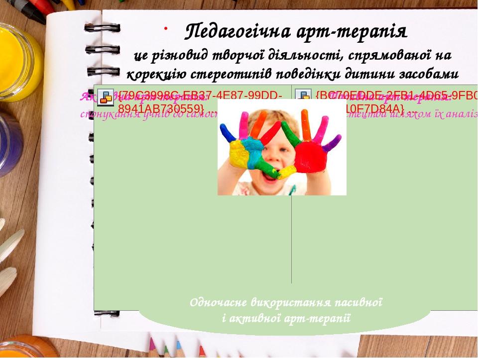 Педагогічна арт-терапія це різновид творчої діяльності, спрямованої на корекцію стереотипів поведінки дитини засобами художньої творчості. Одночасн...