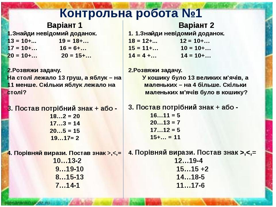 Контрольна робота №1 Варіант 1 1.Знайди невідомий доданок. 13 = 10+... 19 = 18+… 17 = 10+… 16 = 6+… 20 = 10+… 20 = 15+… 2.Розвяжи задачу. На столі ...