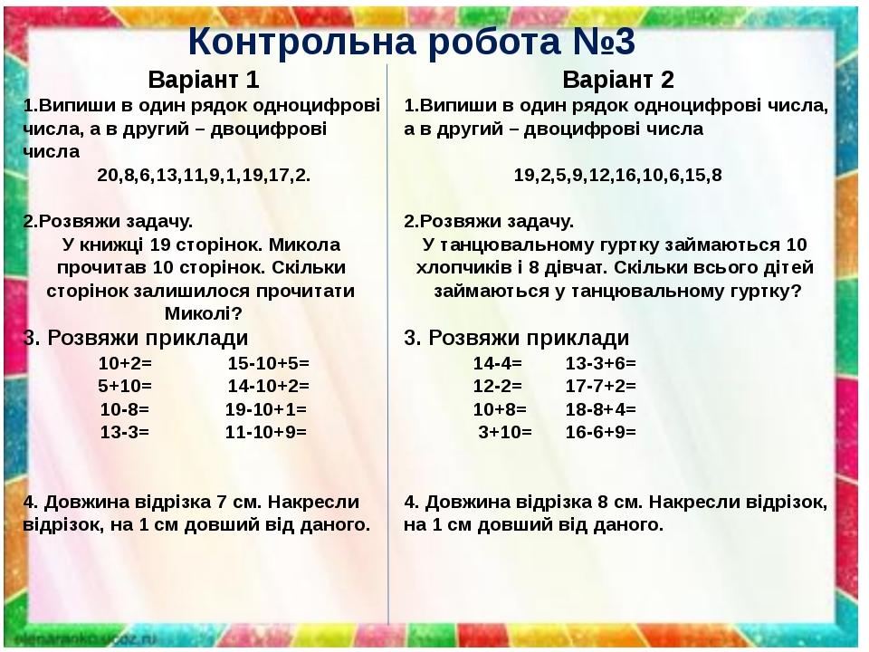 Контрольна робота №3 Варіант 1 1.Випиши в один рядок одноцифрові числа, а в другий – двоцифрові числа 20,8,6,13,11,9,1,19,17,2. 2.Розвяжи задачу. У...