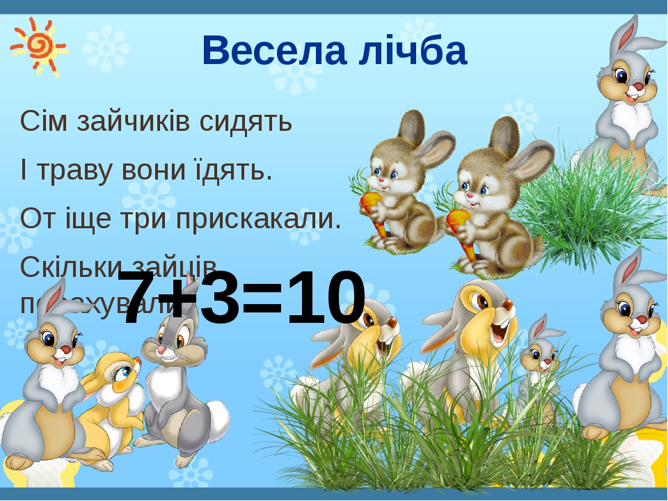 Весела лічба Сім зайчиків сидять І траву вони їдять. От іще три прискакали. Скільки зайців порахували? 7+3=10