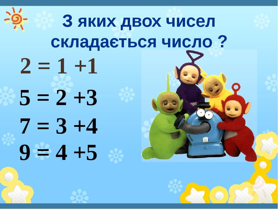 З яких двох чисел складається число ? 2 = 1 +1 5 = 2 +3 7 = 3 +4 9 = 4 +5