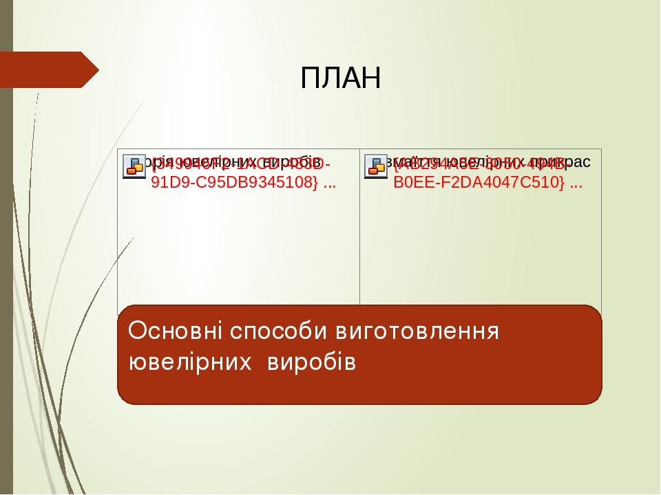 ПЛАН Основні способи виготовлення ювелірних виробів