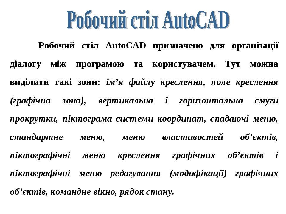 Робочий стіл AutoCAD призначено для організації діалогу між програмою та користувачем. Тут можна виділити такі зони: ім'я файлу креслення, поле кре...