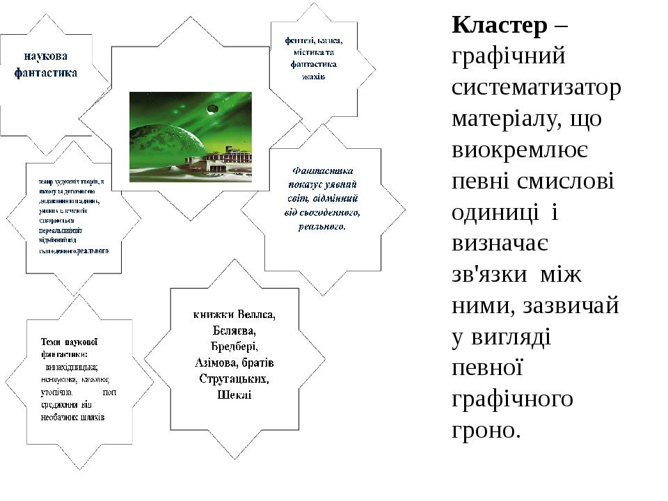 Кластер – графічний систематизатор матеріалу, що виокремлює певні смислові одиниці і визначає зв'язки між ними, зазвичай у вигляді певної графічног...